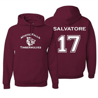 Mystic Falls Timberwolves Vampire Diaries Salvatore 17 Hoodie Women Pullovers Sweatshirt Fleece Femme Hoodie Maroon Asia Size