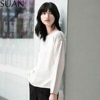 SUAN Womens Long Sleeve Tops Womens Clothing Autumn Casual Tee Shirt Marled Crisscross Hollow Out Open