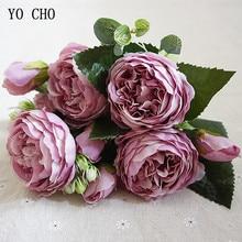 Йо Чо модные красивые пионы Искусственные Розы Цветы Свадебные украшения Шелковые цветы букет белый пион красная роза искусственные цветы