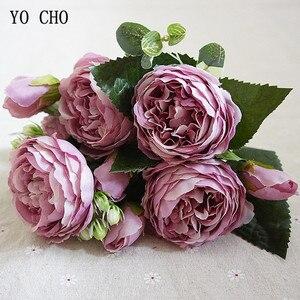 Image 1 - YO CHO de rosas artificiales de peonía, ramo de flores de seda para decoración de boda, peonías blancas, rosas rojas, falsas