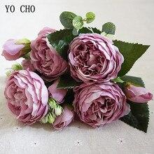 YO CHO moda güzel şakayık yapay gül çiçek düğün dekorasyon ipek buket çiçekler beyaz şakayık kırmızı gül sahte çiçekler