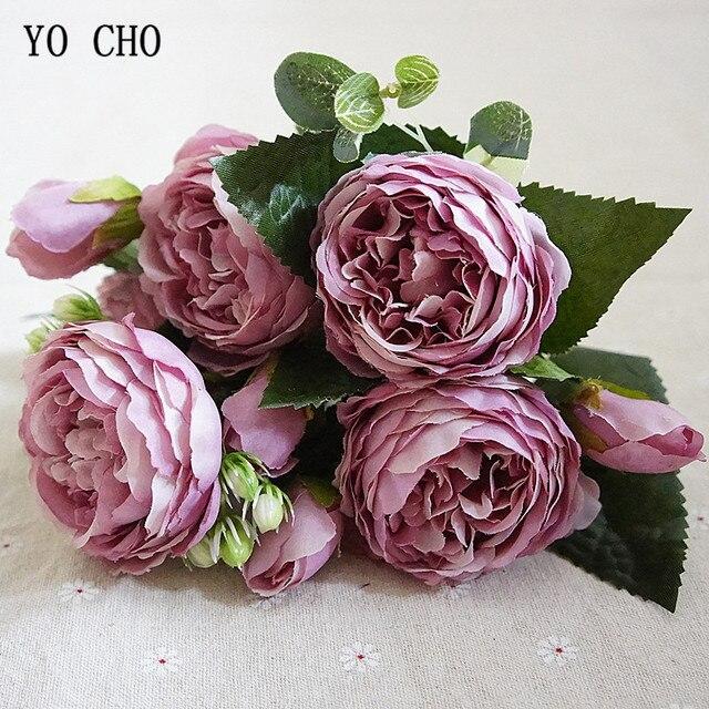 YO CHO موضة جميلة الفاوانيا بوكيه ورد صناعي الزهور الزفاف الديكور الحرير باقة أزهار الفاوانيا الأبيض الأحمر روز وهمية الزهور