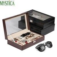2018 Hot New 9 Grid Sunglasses Watch Storage Box Case Jewelry Glasses Display Box Waterproof Leather Eyeglasses Organizer Boxes