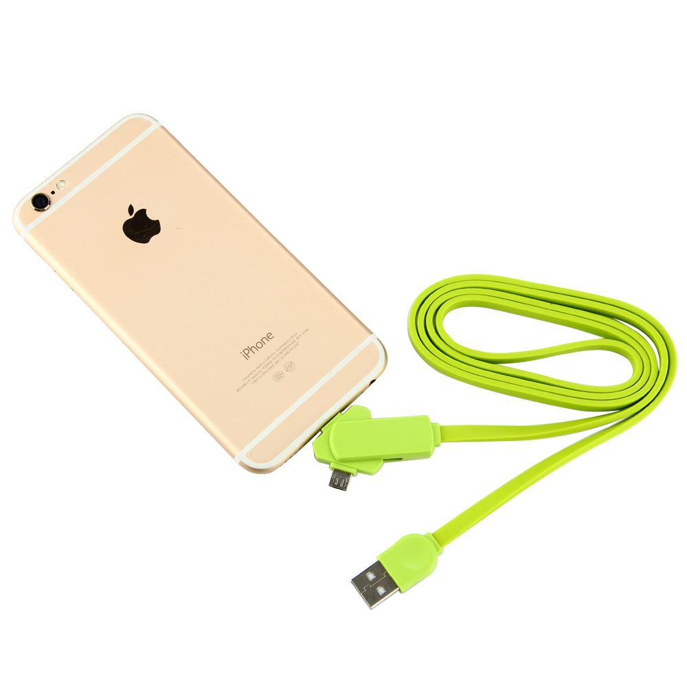 Buy 3 in 1 Micro USB Type C Phone Charger for iPhone Samsung Xiaomi Huawei Noodles Cable Travel Portable Phone Charging Cable Wire for only 3.88 USD