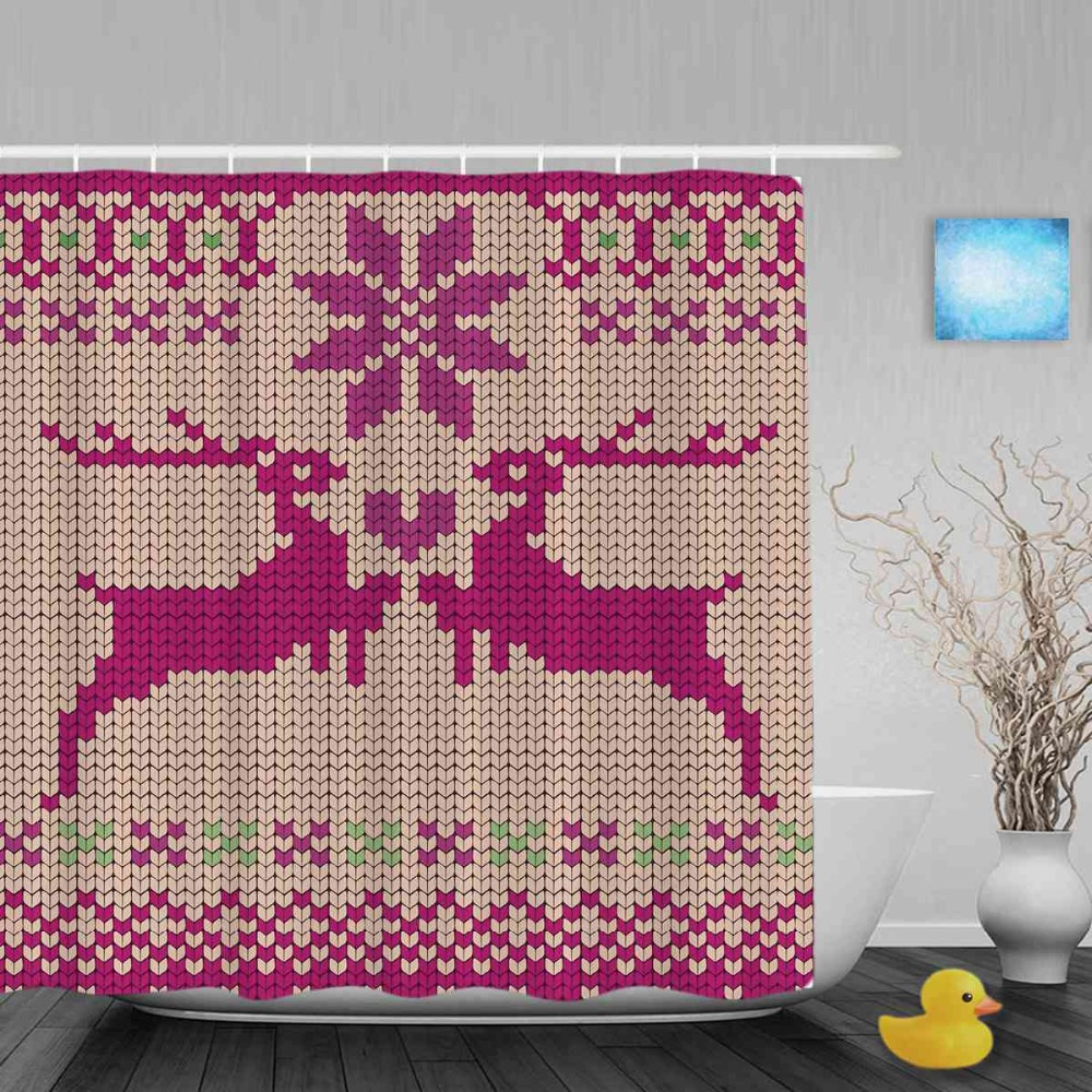 Seamless Knitted Christmas Deer Printed Decor Bathroom Shower Curtains Waterproof Polyester Fabric Shower Curtain With Hooks
