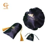Custom logo lipstick packing satin bags, 100% Virgin hair bundle extensions, silk bonnet sets. Jewelry packaging silk bags