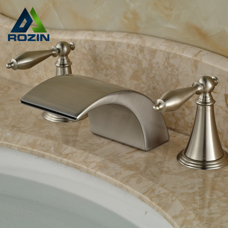 2016 Wholesale and Retail Brushed Nickel Countertop Faucet Waterfall Widespread Deck Mount