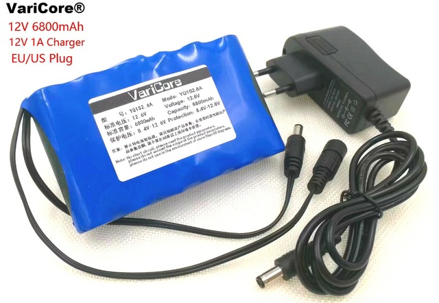Varicore 12.6 V 6.8 ah Portable Li-ion battery, Supercapacitor DC 12V 6800 mAh CCTV, Automated product Ion + 12.6V1A chagrer