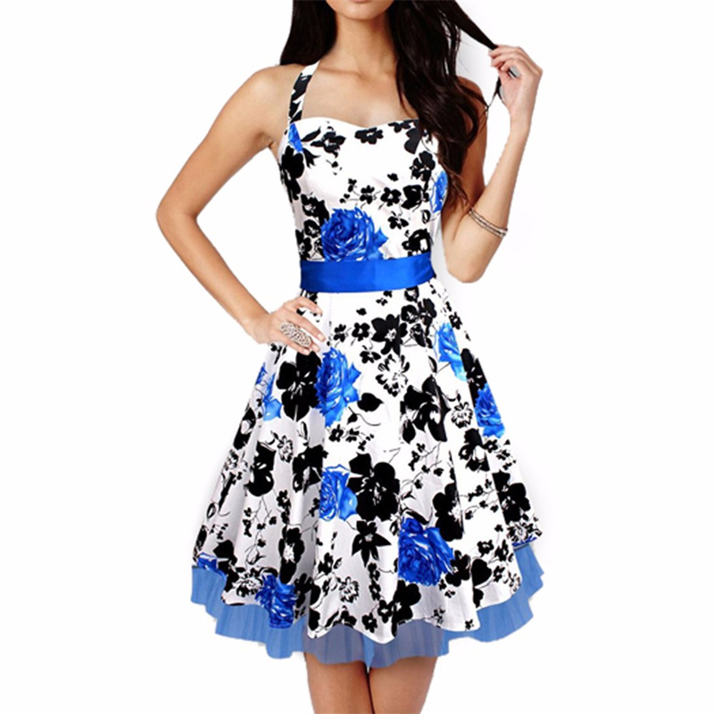 Women Rockabilly Plus Size Leaf Print Pinup 50s Swing Prom Evening Party Dress