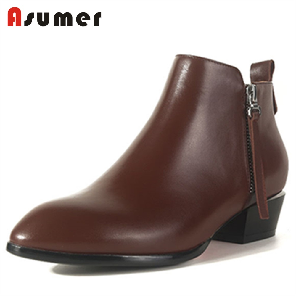 ASUMER NEW 2018 fashion genuine leather ankle boots women square med heels pointed toe zipper shoes dress casual shoes