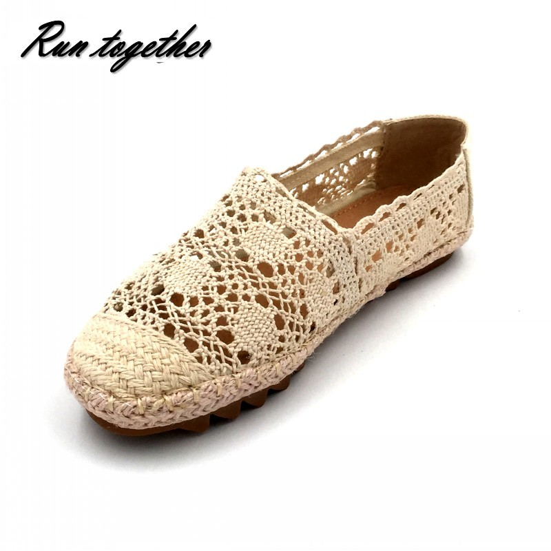 Runtogether New Women Casual Flat Shoes Fashion Slip On Round Toe Loafers Lace Cut Outs Straw Hemp Rope Canvas Shoes Size 35-40 void shoes void shoes ботинки мужские doggibot blk