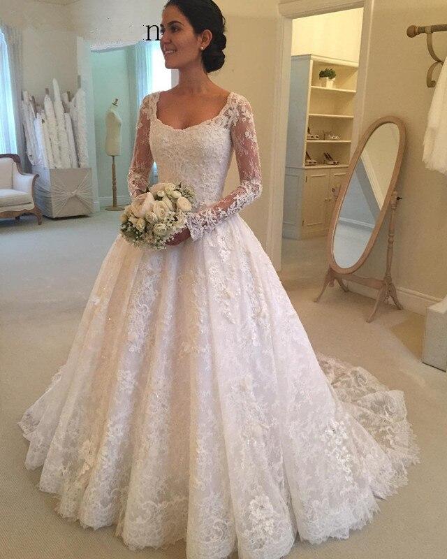 Elegant 2019 Muslim Long Sleeves Square Beaded Lace Appliques Wedding Dress Dubai Arabic Sofuge Gelinlik 2019 Boho Suknia Slubna