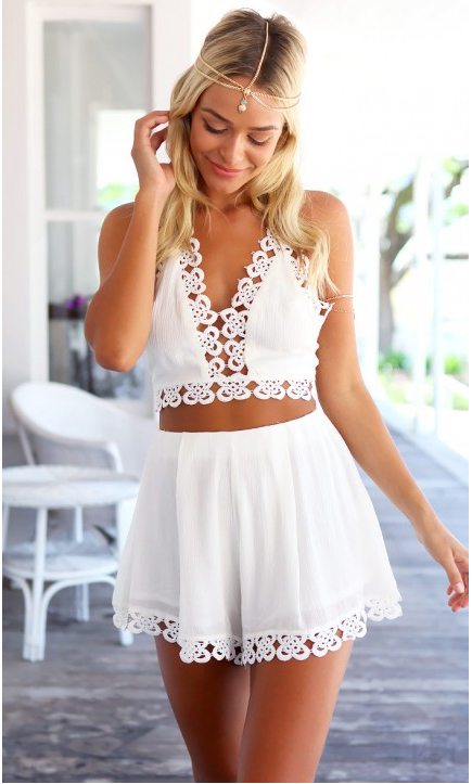 Aliexpress.com : Buy White Embroidery Floral V neck Cropped Top   ...