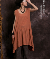 2015 Summer Women S Loose Casual Dress Sleeveless O Neck Cotton Linen Mori Gril Style Dresses