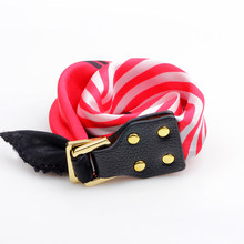 Classical Silk Stripe Pattern Scarf Leather Buckle Wrist Bracelets & bangles Bag Handle Band Women Femme Birthday Gift Jewelry(China)