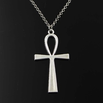 Simple Classic Fashion Cross Egyptian Ankh Life Symbol Antique Silver Color Pendant Short Long Chain Necklaces Jewelry For Women 1