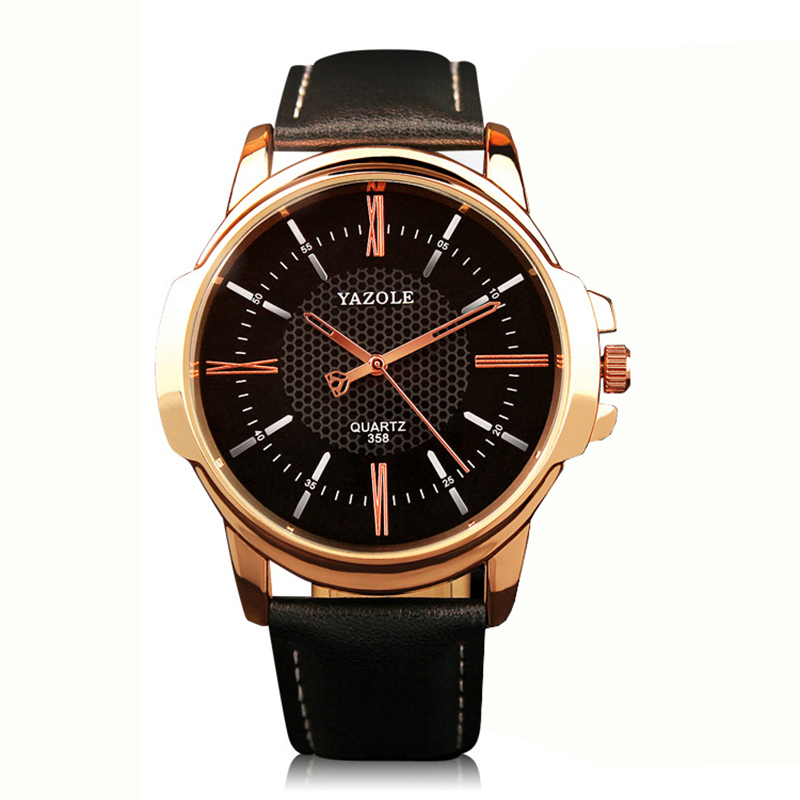 Mens Watches Top Brand Luxury YAZOLE Famous Leather Simple Watch Male Clock Gold Black Quartz Wristwatches