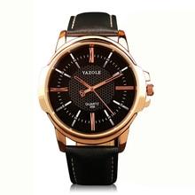 Mens Montres Haut Marque De Luxe YAZOLE Célèbre En Cuir Simple Montre Mâle Horloge Or Noir bracelet de Quartz Relogio Masculino Un
