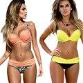 Biquíni Set 2016 Verão Cintura Baixa Swimwear Mulheres Sexy Banco Maillot De Bain maiô Maiô Empurrar Para Cima Biquini Brasileiro BK313