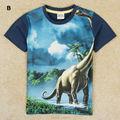 Boys T shirt 2017 nova Jurassic Park tyrannosaurus rex velociraptor boys character short sleeve T shirt kids clothing retails