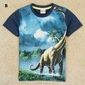 Meninos t camisa 2017 nova velociraptor jurassic park tiranossauro rex caráter meninos de manga curta camiseta crianças roupas varejos