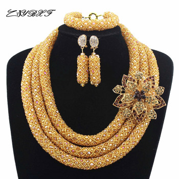 Luxury Champagne  Nigerian Wedding African Beads Jewelry Set Full Beads Big Statement Necklace Set Free Shipping L1059
