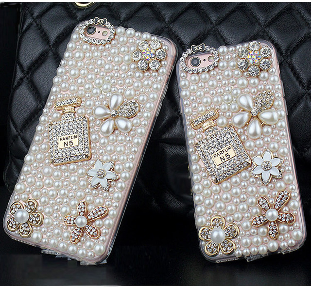 Diamond Pearl Flower Perfume Bottle Case For iPhone and Samsung Galaxy