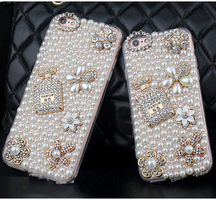 Dower Me Diamond Pearl Flower Perfume Bottle Case For Iphone X 8 7 6 Plus 5 Samsung Galaxy Note 8 5 4 3 2 S9/8/7/6/5/4 Edge Plus