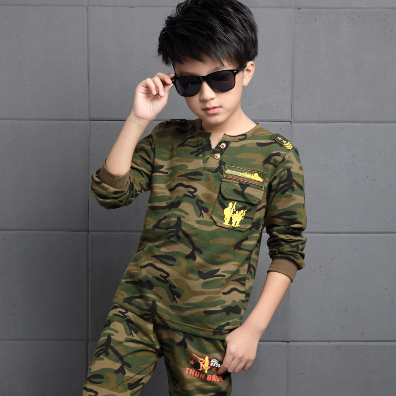 ФОТО clothes boys camouflage colour tracksuits 2016 autumn children clothing sets kids long sleeve t-shirt + pants sports outfit 4-12