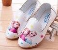 Zapatos de las muchachas antideslizantes en zapatillas de dibujos animados blanco rosa azul niños primavera otoño 3-8 años de los holgazanes pisos shose zapato mocs elsa annie