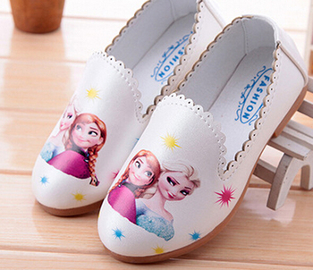 girls shoes slip on cartoon sneakers white pink blue kids flats shose zapato spring autumn 3-8 years loafers mocs elsa annie slip-on shoe