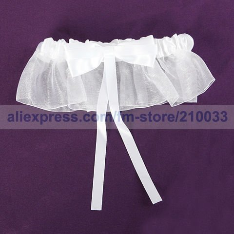 Free Shipping Retail Special Wedding Party Stuff Supplies Accessory Pure Bow Organza Personalized Bridal Garters for Wedding