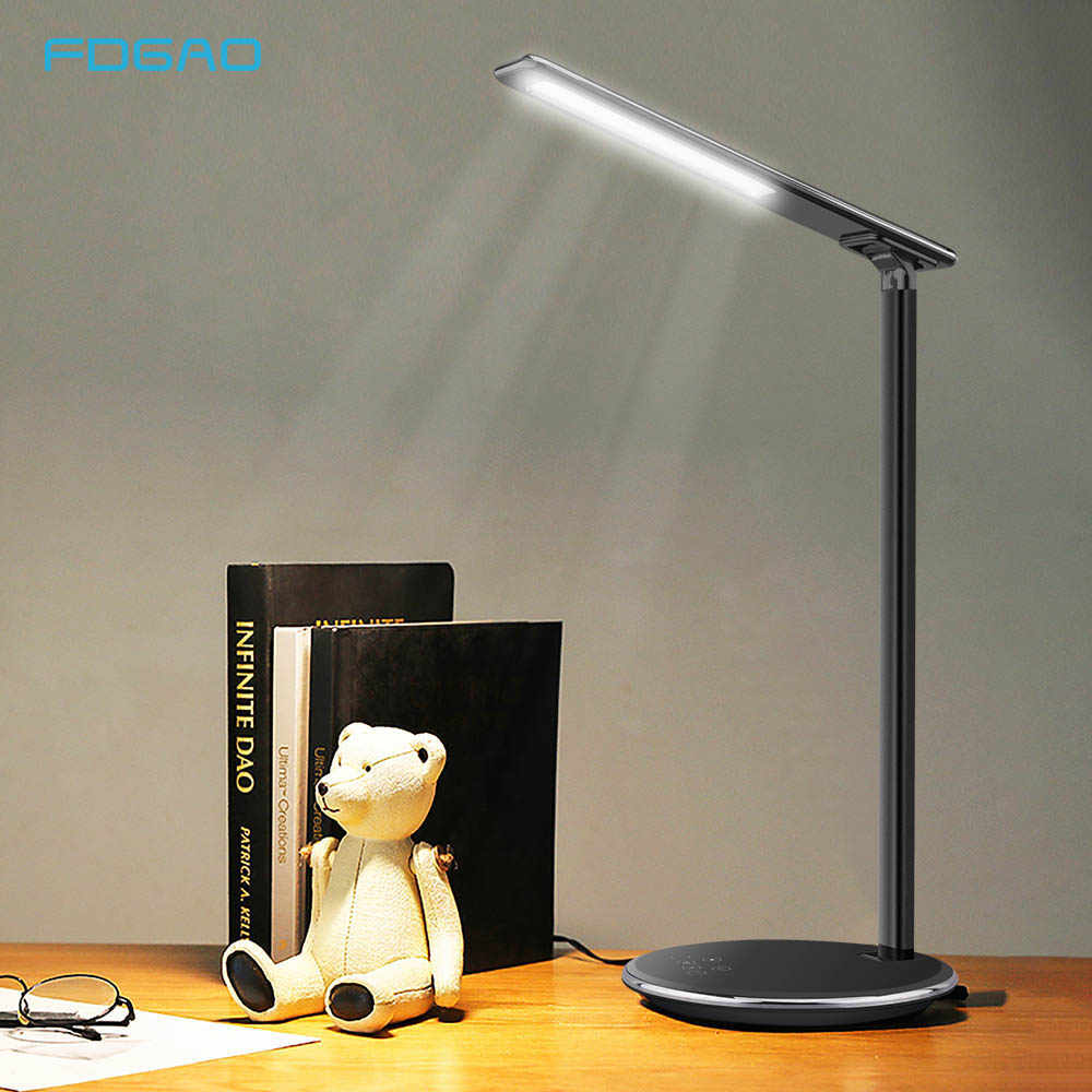 FDGAO 2 IN 1 Table Desk Lamp LED Light USB Charging Station Fast Qi Wireless Charger Dock For IPhone XS MAX XR X 8 Plus