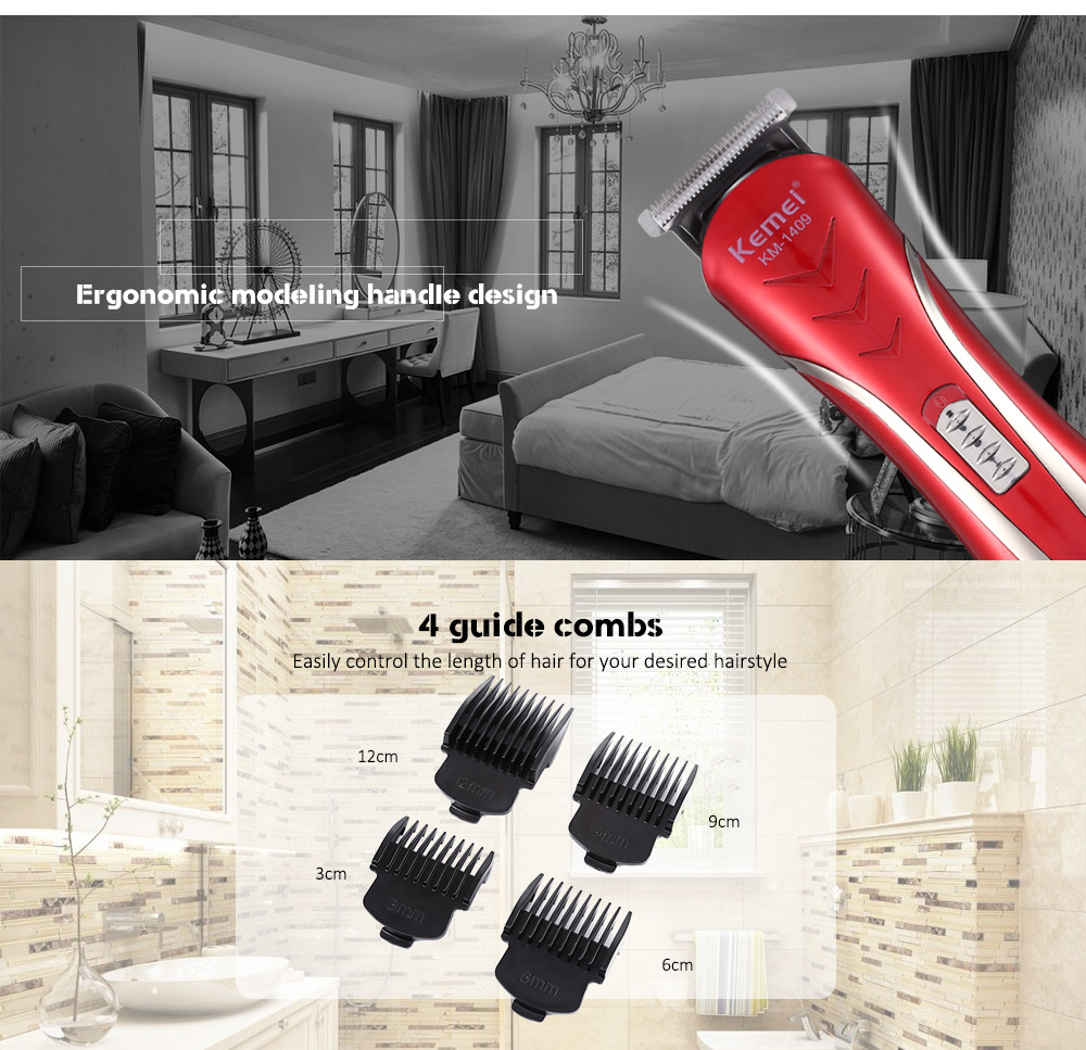 Kemei KM - 1409 Professional Electric Hair Clipper Trimmer Alipearl Hair Unice Hair  EU Plug Rechargeable Electric Razor Men Bea