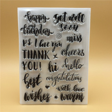 hello thank you Miss Transparent Clear Silicone Stamp Seal for DIY scrapbooking photo album Decorative clear