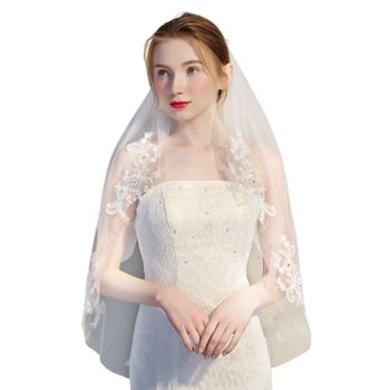1.5M One-Layer Women Mesh Fingertip Short Wedding Veil Embroidery Floral Lace Patchwork Glitter Rhinestone Bridal Veil With Comb Bridal Veils
