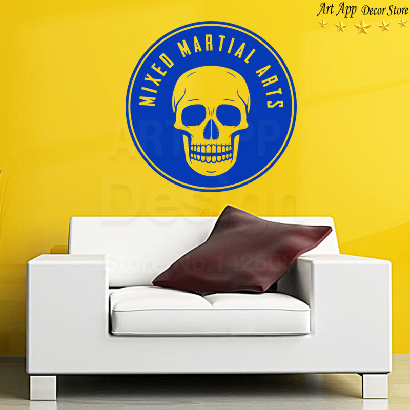 Good quality new design mixed martial skull wall sticker removable ...