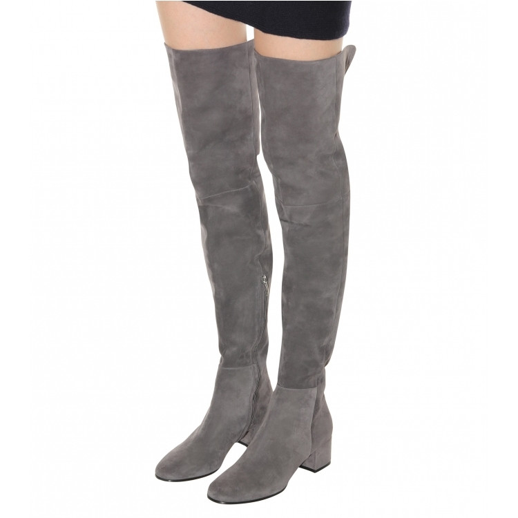 Akamatsu Flock Women Thigh High Boots Fashion Long Botas High Thin Heel Chunky Heels Warm Winter Short Plush Nude Suede Boots