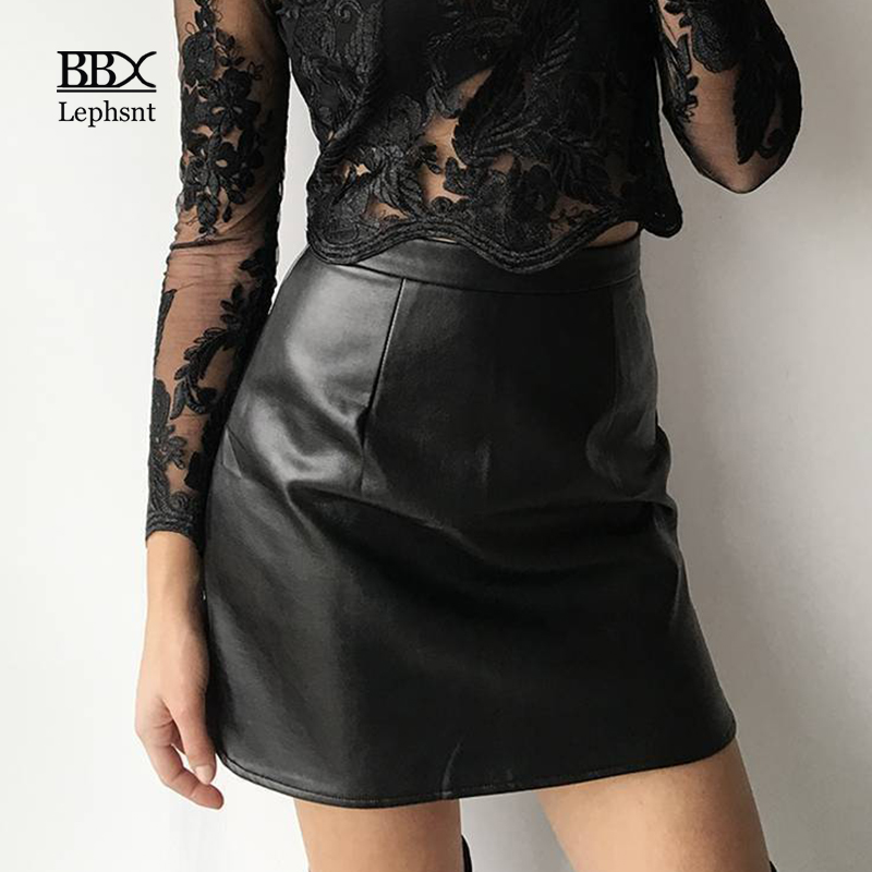 BBX Lephsnt Sexy PU Leather Short Skirt 2018 High Waist Vintage A-Line Woman Skirts Elegant Solid Bodycon Skirt For Women B83076