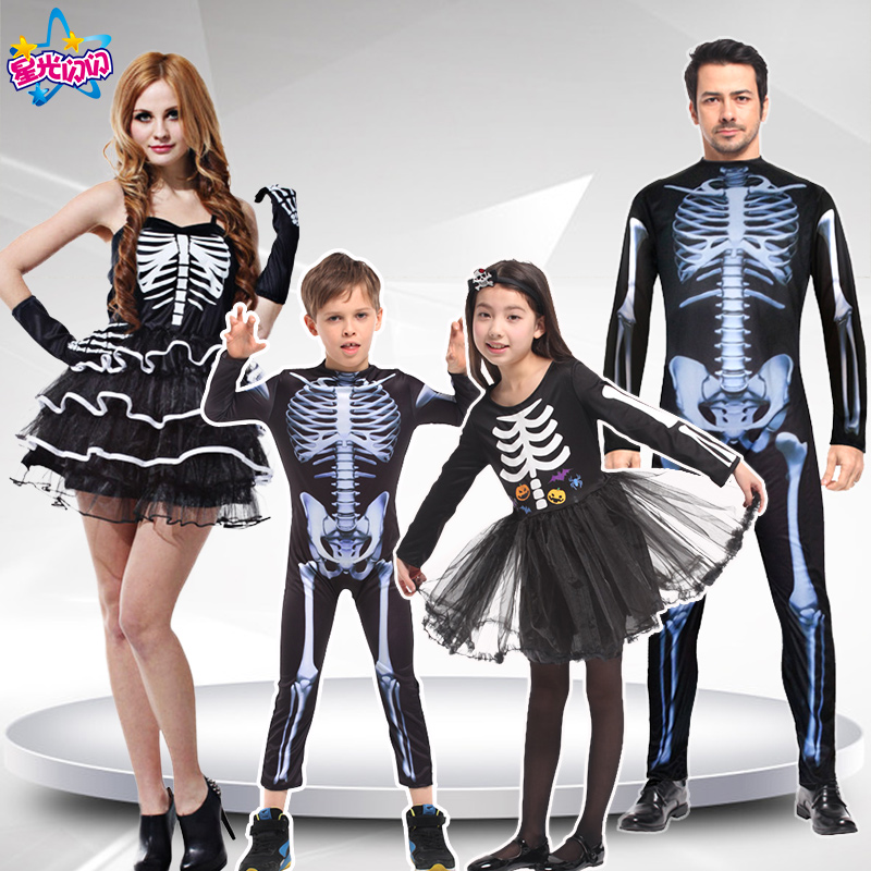 Adult Men Women Children halloween party cosplay skull devil ghost ghoul costumes with Skeleton printing zombie Mummy clothes