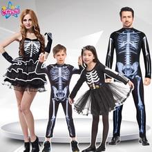 Volwassen Mannen Vrouwen Kinderen halloween party cosplay schedel duivel ghost ghoul kostuums met Skelet printing zombie Mummie kleding