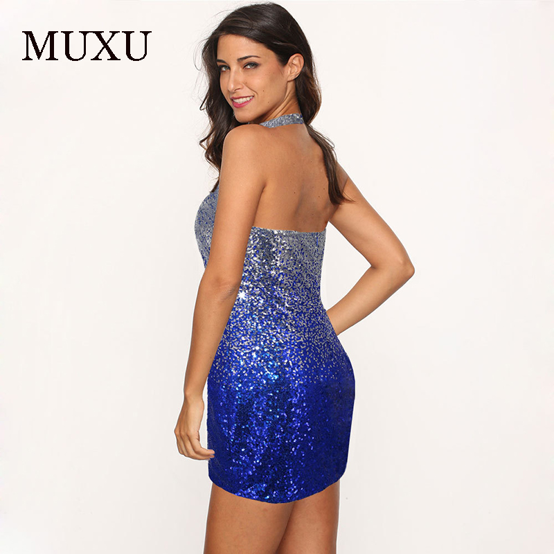 MUXU summer vestido sexy rainbow sequin dress vestidos mujer womens clothing bodycon fashionable dresses backless clothes women