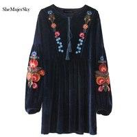 SheMujerSky Velvet Dress Women Embroidery Mini Short Autumn Dresses 2017 Elegant Navy Blue Vestidos