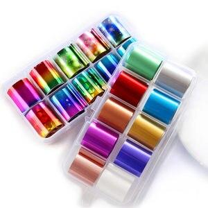 Nuevo juego de 10 unids/caja holográfica de lámina de uñas transparente AB en Color diamante cielo estrellado adhesivos de transferencia de manicura 2,5*100cm