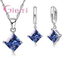 Top Quality Silver Charm Geometric Jewelry Sets Pave Shining Crystal For Birthday Pendant Necklace Fashion Earrings(China)