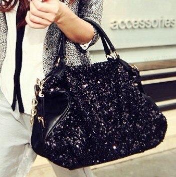 Free Shipping Winter Newest Paillette Black Handbag Women's Leather Shoulder Bag Multifunction Big Bags BB0618