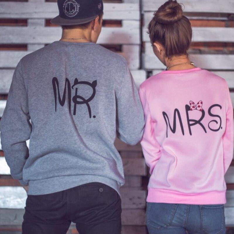Mr Mrs Printed Pullover Hoodies Couples Lovers Sweatshirt Men Women Shirts Hoodie Casual Long Sleeve Tops Sudaderas Mujer 2019