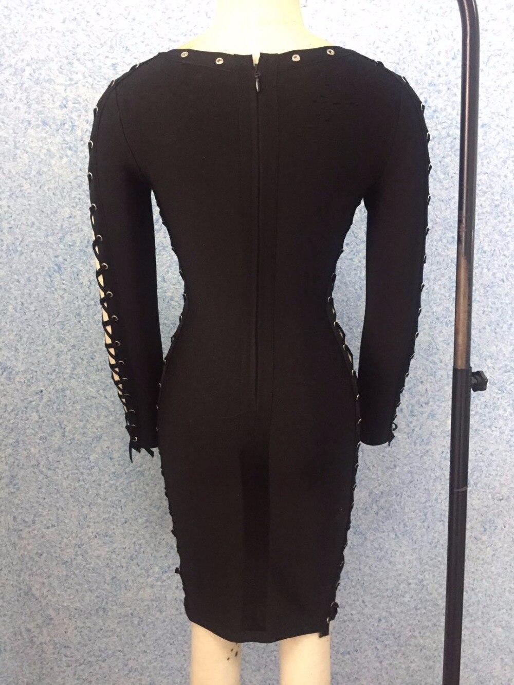 Nouvelle Élégant Bandage Out Creux Sexy Longues Femmes Arrivée Party De Robes À Hiver Manches Noir Soirée Robe Club 0vxqfB4f
