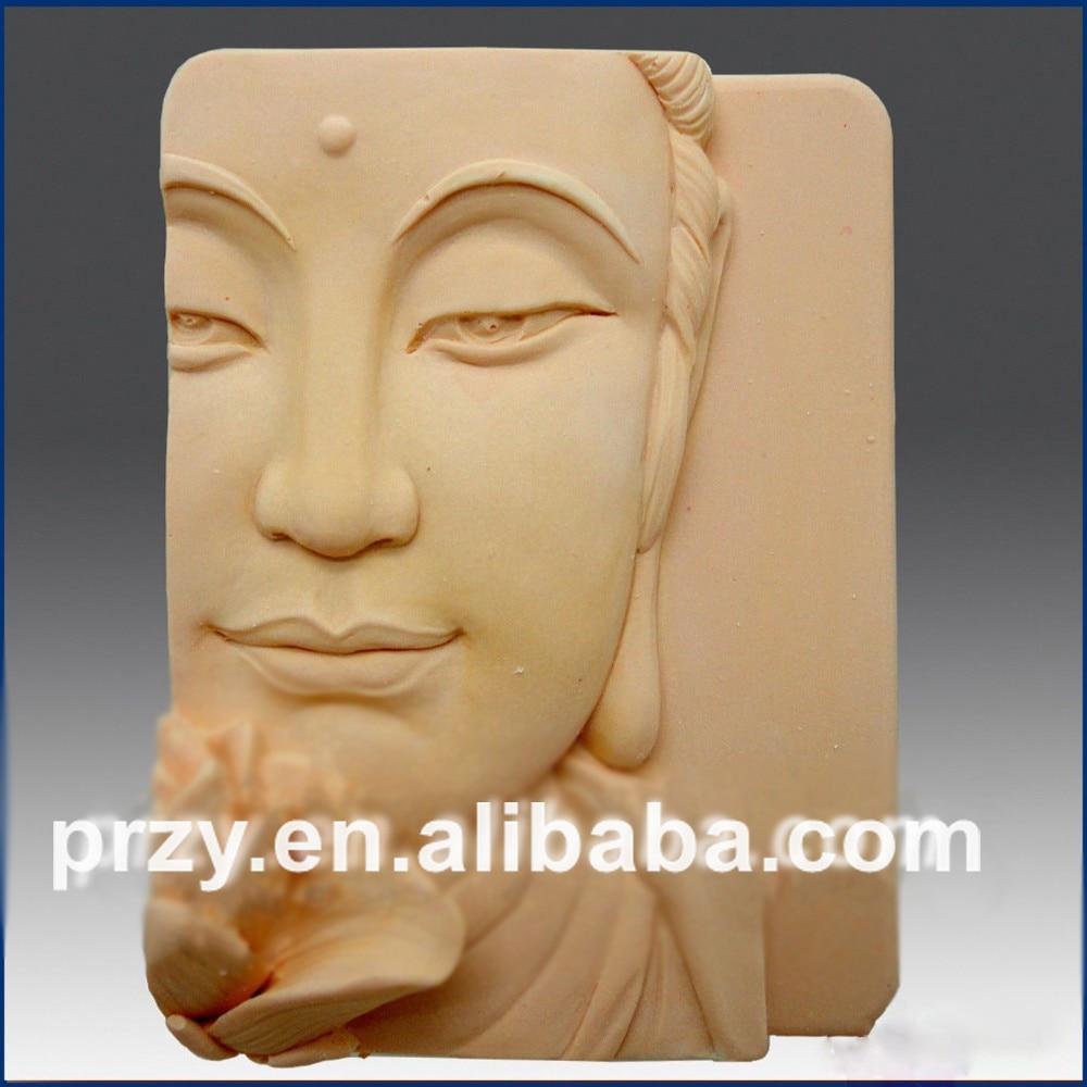 DIY  Buddha Closeup w/Lotus cuboid  Food-grade handmade silicone soap candle cake decoration mold
