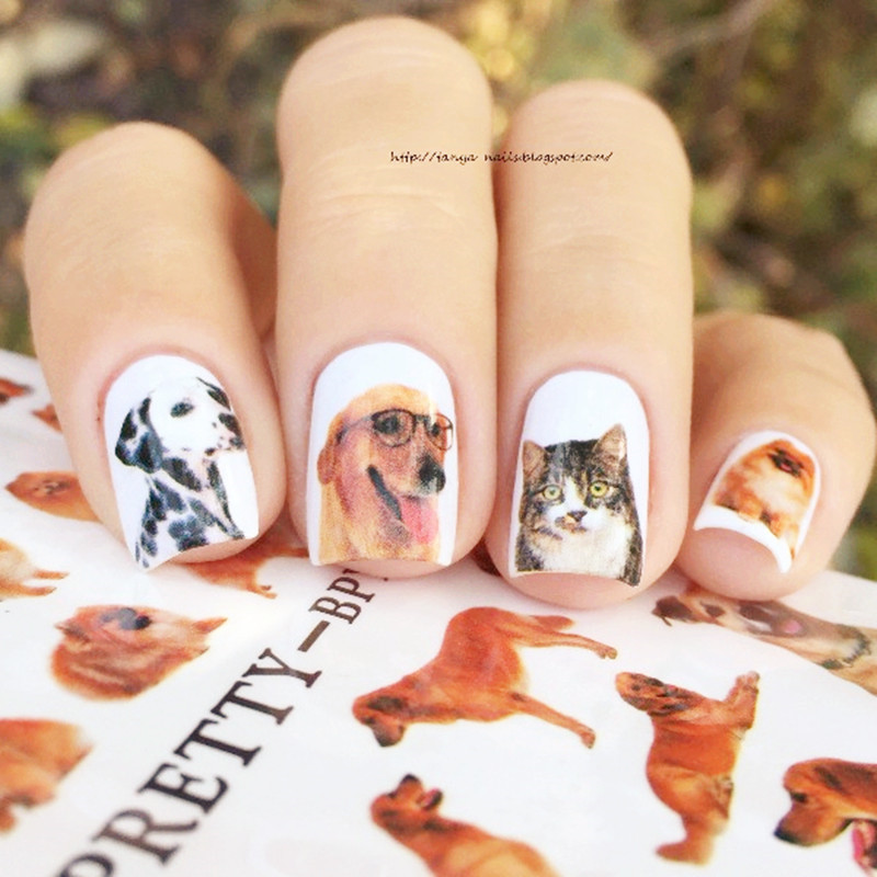 BORN PRETTY Cute Animal Series Nail Water Decal Cat Dog Rabbit Dreamcatcher  Butterfly Manicure Nail Art Transfer Sticker -in Stickers & Decals from  Beauty ... - BORN PRETTY Cute Animal Series Nail Water Decal Cat Dog Rabbit